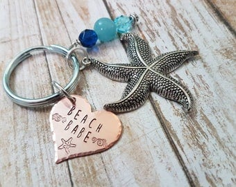 Beach Babe hand stamped keychain with extra large starfish charm and ocean blue beads