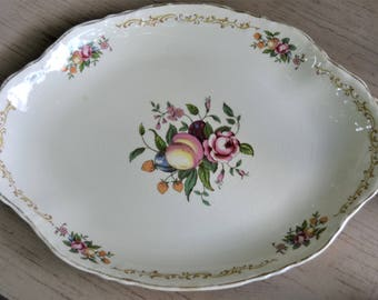 FRUIT FLORAL PLATTER 1940s Oval Platter Pinks and Purples Gold Trim