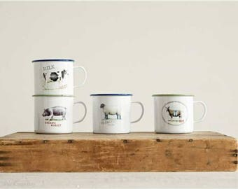 Agate Ceramic over Tin Set of Four Mugs Pig Cow Sheep Goat Adorable Gift