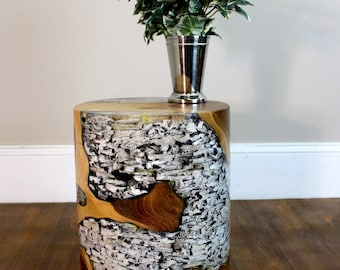 Teak Root Wood and Clear Lucite Resin Cylinder End Side Table Night Stand