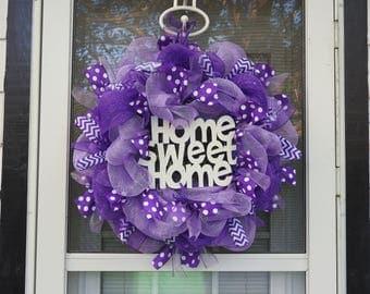Purple Home Sweet Home Deco Mesh Wreath