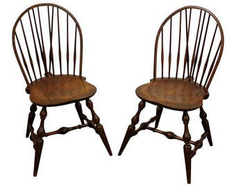 Pair of Hoop Brace-Back Windsor Dining/Side Chairs