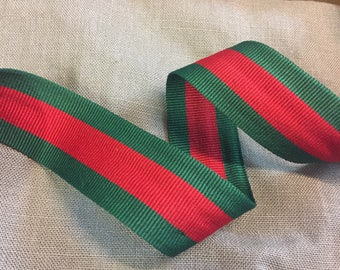 35mm Striped Grosgrain Red Green Grosgrain Flat Ribbon, Fashion Striped Trim, Christmas grosgrain ribbon