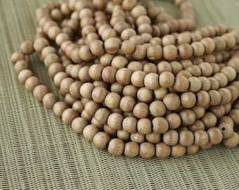 8mm Natural Rosewood Round Premium Wood Beads - 15 inch strand