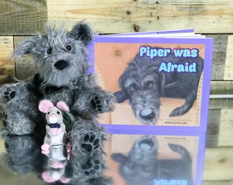 Stuffed Animal - Dog - Children's Book - Gift Set - Irish Wolfhound - Piper was Afraid - Reading - Picture Book - Bedtime Story - Storytime