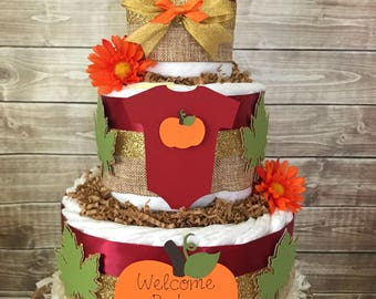 Fall Diaper Cake in Burgandy, Burlap and Forest Green, Fall Baby Shower Centerpiece