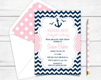Printable Nautical Girl Baby Shower Invitation,Nautical Printable Girl Baby Shower Invitation, Anchor Pink Blue Navy Baby Shower Invitation,