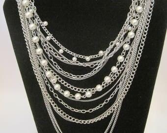 Silver tone Multichain Necklace