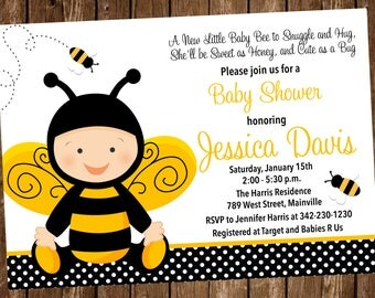 Bee, Bumble Bee, Honey Bee, Baby Shower Invitation - Digital or Printed