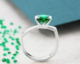 ON SALE NOW Emerald Ring, May Birthstone Ring, Silver Ring, Gemstone Ring, Solitaire Ring, Modern Ring, Silver Gemstone Ring, Geometric Ring