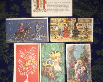 6 (six) NEW vintage heavily embossed 1960's Famous Artist Studios Christmas cards with 5 (five) envelopes