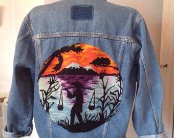 Vintage 70s Asian motif canvas customized denim jacket
