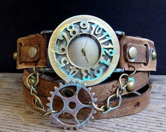 Steampunk watch, women's leather watch, Gear watch, Leather wrap watch, Birthday gift, gift for her