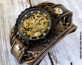 Handtooled steampunk watch, Brown leather watch, Cuff watch, Leather bracelet, Black Skeleton watch, Birthday gift, Anniversary gift