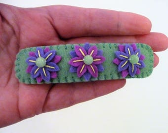 Felt Barrette, Felt Hair Clip, Hair Accessory, Flower Barrette, Floral Barrette, Handmade Barrette, Flower Hair Clip, Bead Flowers, Hairpin