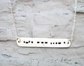 Morse Code Necklace, Morse Code Jewelry, Love necklace, love Morse Code necklace, Love Necklace Silver, Silver Bar Necklace, Valentine Day's