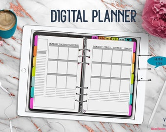 Black Vertical Digital Planner | Digital Planner for Goodnotes with Working Tabs