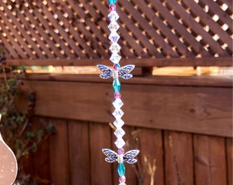 Teal and amythest crystal glass dragonfly suncatcher