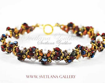 Beading Pattern Tutorial Melody Bracelet Superduo Two Hole Beads