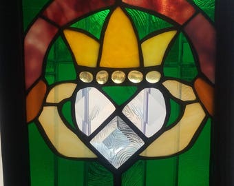 Celtic Claddagh- Wood framed stained glass