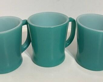 Rare Fire King D Handle Turquoise Mug/Cup