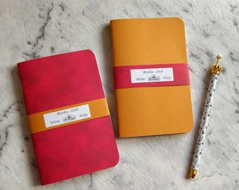 Set of 2 RHODIA Paper Fountain Pen Friendly Traveller's Notebook Inserts. GRID refills with 40 pages. Pocket, Field Notes or Foxy #2 TN.