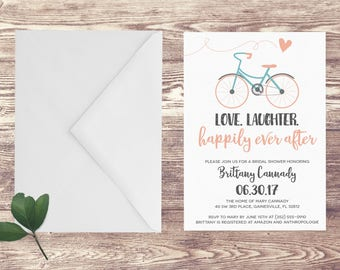 Bicycle wedding shower invitations etsy bicycle bridal shower invitation bridal shower invite with bicycle love laughter happily ever after filmwisefo Choice Image