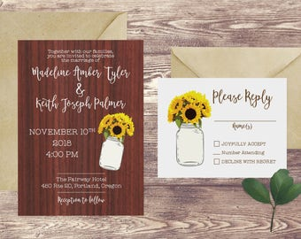 The Rustic Sunflower Wedding Invitation and RSVP Set, Mason Jar and Sunflower Wedding Invite, Rustic Wedding Invitation with Sunflowers