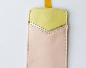 Leather case, accessory for I Phone 6, smartphone case, leather cell phone pouch, iphone cover, real leather sleeve, cotton lining, ribbon