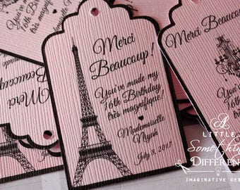 Parisian Thank  You Tag / French Thank You Tag / Parisian Favor Tag / Pink Parisian Tag / Merci Favor Tags / French Favor Tag