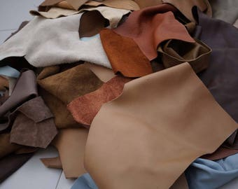 Earth tone Cowhide pieces scrap leather 2-3 hands sized