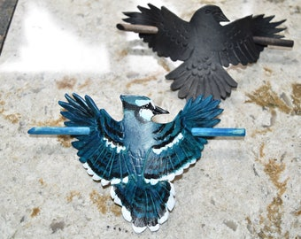 Corvidae hair stick crow/raven blue jay - available now
