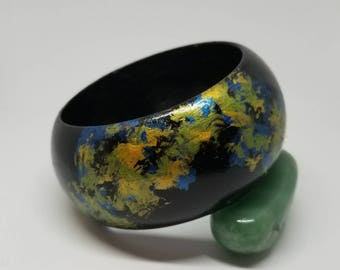 Hand painted wooden bangle.