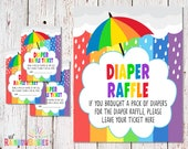 PRINTABLE Diaper Raffle Tickets, Diaper Raffle Sign, Baby Shower Raffle Tickets, Diaper Raffle Cards, Rainbow Baby Shower, INSTANT DOWNLOAD