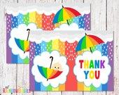PRINTABLE Rainbow Baby Shower Thank You Card, Baby Shower Folded Thank You Note, Thank You Card, Thank You Baby Shower Card INSTANT DOWNLOAD
