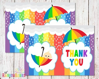 PRINTABLE Rainbow Baby Shower Thank You Card, Baby Shower Folded Thank You Note, Thank You Card, Thank You Baby Shower Card INSTANT DOWNLOAD