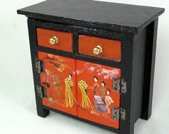 Black red gold contemporary Oriental storage cabinet 2 shelves and drawers artwork on doors. & Miniature red oriental storage cabinet with artwork and panel