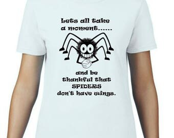 Women - Spiders with wings - white t-shirt - 5 sizes available