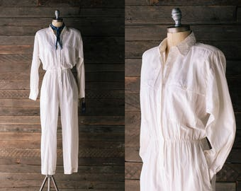 Natural Silk Jumpsuit - 80s 90s Long Sleeved Off White Playsuit - Snazzie Canada - Women's Small sz 6