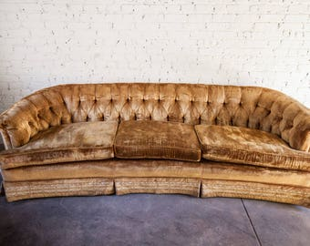 mid century vintage gold velvet tufted sofa couch mcm