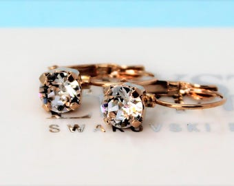 Rose Gold Plated Leverback Earrings made with Clear Swarovski Crystal Elements. Earrings by Lady C