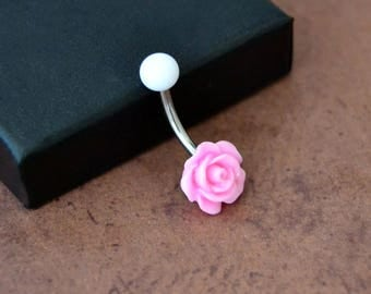 Little Pink Flower Belly Button Ring, Rose Belly Button Ring, Short Navel Ring, Surgical Steel 14G 14gauge Belly Barbell