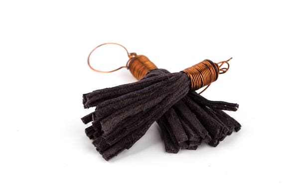 Tribal Tassel Dangle Earrings from Dark Grey Blue Leather and Copper