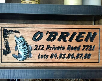 Personalized lake house Sign, Sign for Outside, Large Mouth Bass, wooden fishing Plaques, Wood Signs, Carved  Signs, Bass, Gifts for Dad