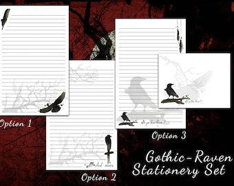 Raven Stationery - Victorian, Gothic Stationery, raven paper, gothic paper, letter writing paper, raven gifts, Edgar Allan Poe
