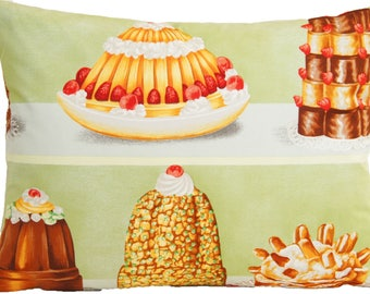 Cakes Cushion Cover Decorative Pillow Throw Case Pierre Frey Fabric Gourmandise Green