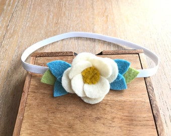 Felt flower headband, simple headband, baby headband, flower crown, photo prop, felt flowers, hair accessory