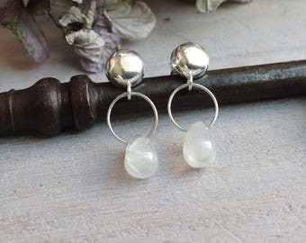 Ear studs half ball and iridescent Moonstone in 925 sterling silver, Rainbow Moonstone briolettes, contemporary, minimalist