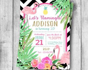 Let's Flamingle Birthday Invitation - 5x7