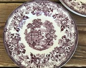 Vintage Royal Staffordshire Tonquin Purple Plum Transferware Bread and Butter Plates